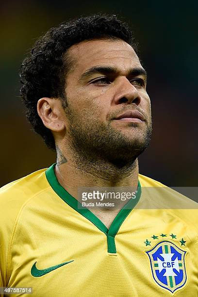 Daniel Alves of Brazil looks on before a match between Brazil and Peru as part of 2018 FIFA World Cup Russia Qualifiers at Arena Fonte Nova on...