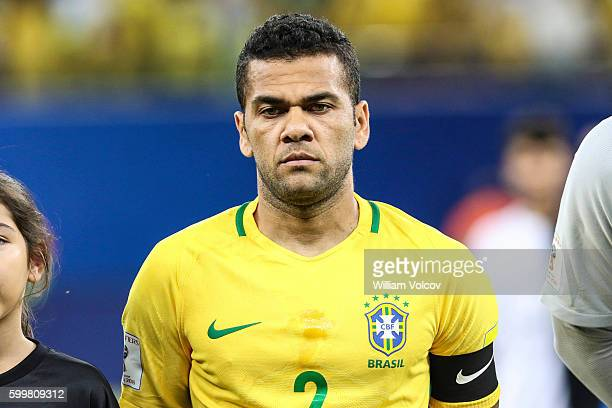 Daniel Alves of Brazil looks on during a match between Brazil and Colombia as part of FIFA 2018 World Cup Qualifiers at Arena Amazonia Stadium on...