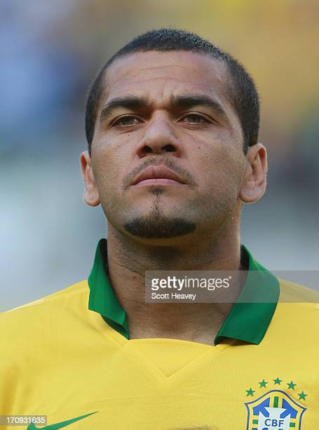 Daniel Alves of Brazil looks on prior to the FIFA Confederations Cup Brazil 2013 Group A match between Brazil and Mexico at Castelao on June 19, 2013...