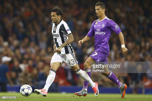 Daniel Alves of Juventus and Cristiano Ronaldo of Real Madrid during the UEFA Champions League Final between Juventus and Real Madrid at National...
