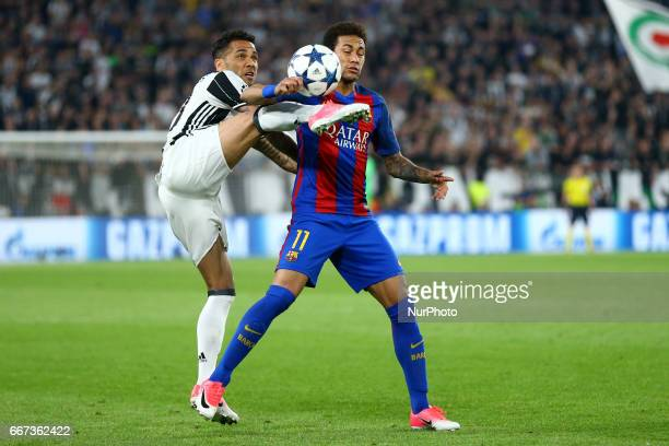 Daniel Alves of Juventus and Neymar of FC Barcelona during the UEFA Champions League Quarter Final first leg match between Juventus and FC Barcelona...