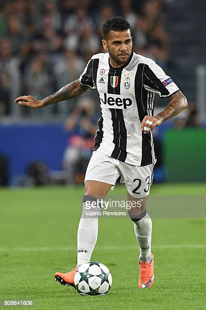Daniel Alves of Juventus FC in action during the UEFA Champions League Group H match between Juventus FC and Sevilla FC at Juventus Stadium on...