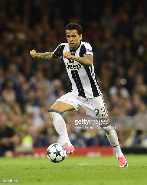 Daniel Alves of Juventus uring the UEFA Champions League Final match between Juventus and Real Madrid at National Stadium of Wales on June 3 2017 in...