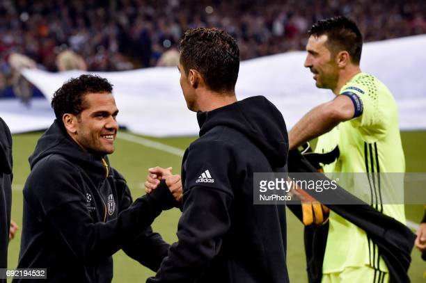 Daniel Alves of Juventus waves Cristiano Ronaldo of Real Madrid during the UEFA Champions League Final match between Real Madrid and Juventus at the...