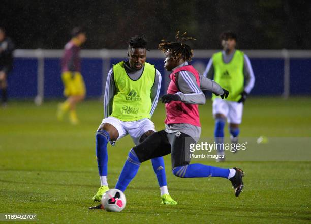 Daniel Amartey and Calvin Ughelumba of Leicester City warm up before the Leicester City U23 v Villarreal B PL International Cup at Holmes Park on...