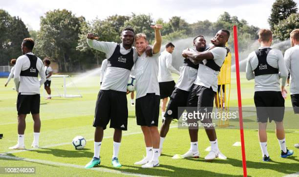 Daniel Amartey and Marc Albrighton during the Leicester City training session at Belvoir Drive Training Complex on July 31, 2018 in Leicester, United...