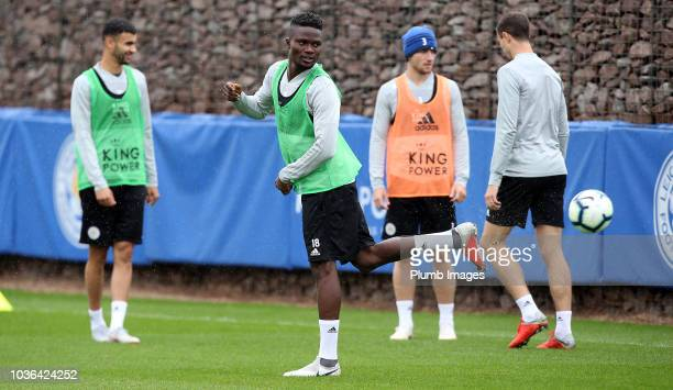 Demarai Gray looks on during the Leicester City training session at Belvoir Drive Training Complex on September 20 2018 in Leicester United Kingdom
