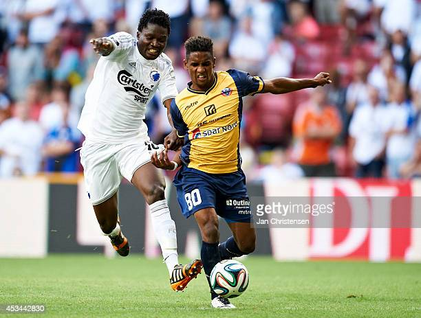 Daniel Amartey of FC Copenhagen and Quincy Antipas of Hobro IK compete for the ball during the Danish Superliga match between FC Copenhagen and Hobro...