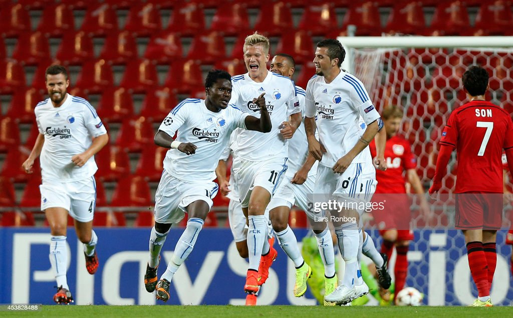 Daniel Amartey of FC Copenhagen celebrates after scoring their second goal during during the UEFA Champions League Qualifying Play-Offs Round First Leg match between FC Copenhagen and Bayer Leverkusen at Parken Stadium on August 19, 2014 in Copenhagen, Denmark.
