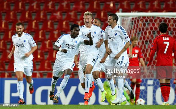 Daniel Amartey of FC Copenhagen celebrates after scoring their second goal during during the UEFA Champions League Qualifying PlayOffs Round First...