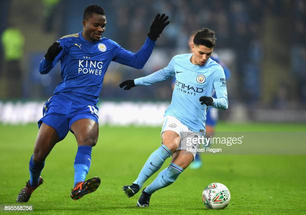 Daniel Amartey of Leicester City and Brahim Diaz of Manchester City battle for posession during the Carabao Cup QuarterFinal match between Leicester...