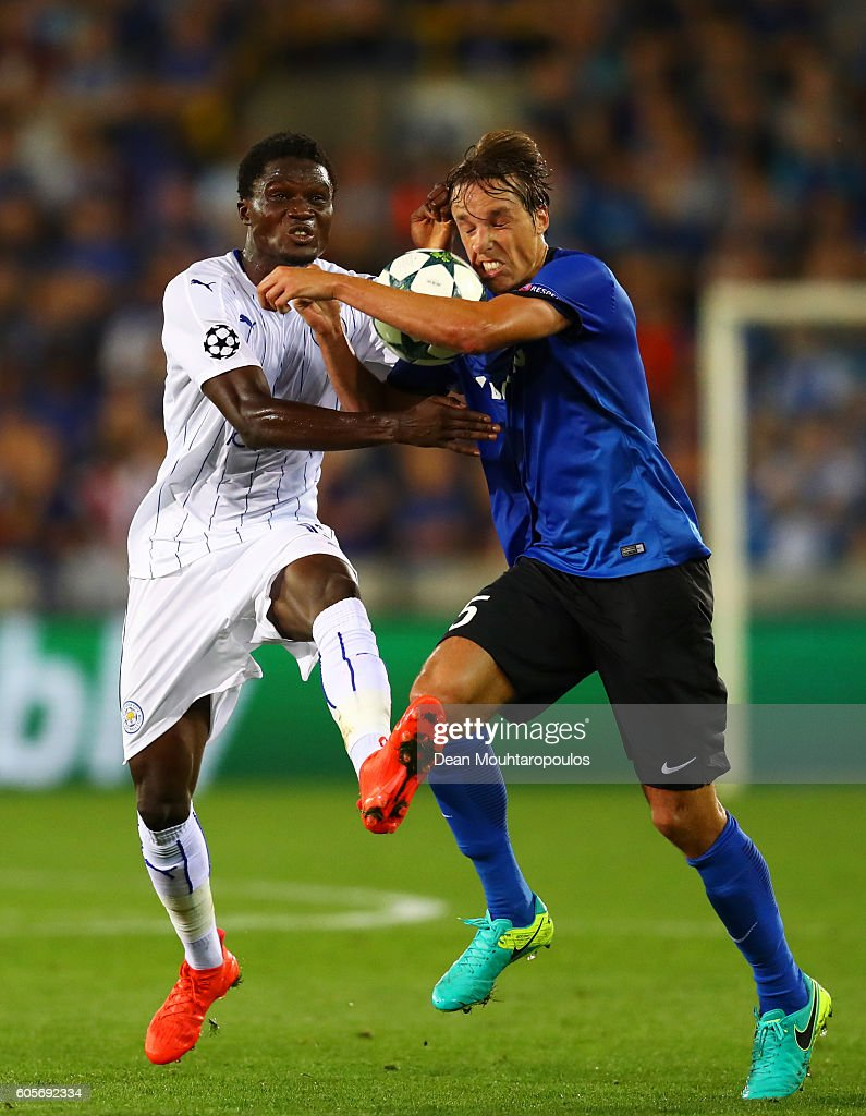 Daniel Amartey of Leicester City and Tomas Pina of Club Brugge in action during the UEFA Champions League match between Club Brugge KV and Leicester City FC at Jan Breydel Stadium on September 14, 2016 in Brugge, Belgium.