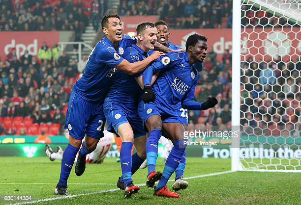 Daniel Amartey of Leicester City celebrates with Andy King and Leonardo Ulloa of Leicester City after scoring to make it 22 during the Premier League...