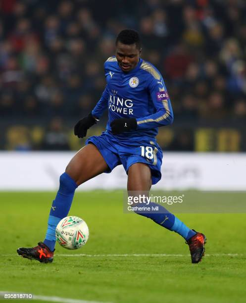 Daniel Amartey of Leicester City during the Carabao Cup QuarterFinal match between Leicester City and Manchester City at The King Power Stadium on...