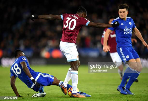 Daniel Amartey of Leicester City gets injured whilst tackling Michail Antonio of West Ham United during the Premier League match between Leicester...
