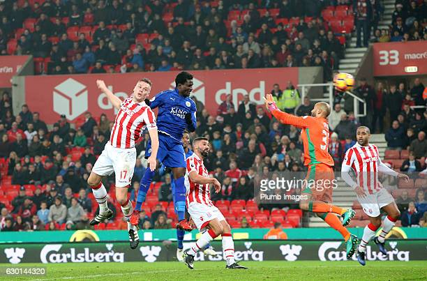 Daniel Amartey of Leicester City heads the ball past Lee Grant of Stoke City to make it 22 during the Premier League match between Stoke City and...