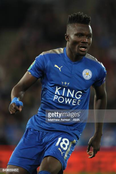 Daniel Amartey of Leicester City in action during the Carabao Cup third round match between Leicester City and Liverpool at The King Power Stadium on...