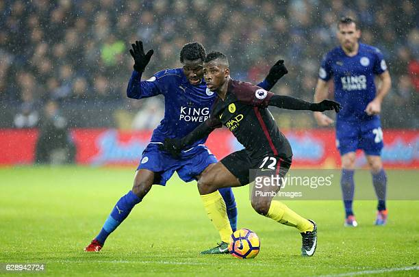 Daniel Amartey of Leicester City in action with Kelechi Iheanacho of Manchester City during the Premier League match between Leicester City and...