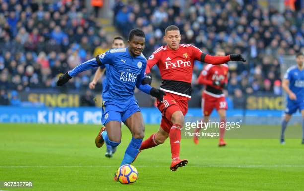 Daniel Amartey of Leicester City in action with Richarlison of Watford during the Premier League match between Leicester City and Watford at King...