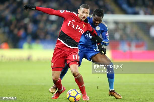 Daniel Amartey of Leicester City in action with Richarlison of Watford during the Premier League match between Leicester City and Watford at The King...