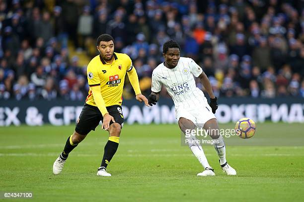 Daniel Amartey of Leicester City in action with Troy Deeney of Watford during the Premier League match between Watford and Leicester City at Vicarage...