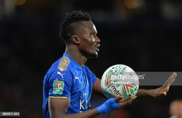Daniel Amartey of Leicester City prepares to take a throw in during the Carabao Cup match between Leicester City and Leeds United at King Power...