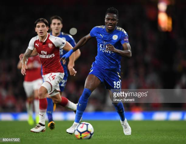 Daniel Amartey of Leicester City runs with the ball during the Premier League match between Arsenal and Leicester City at the Emirates Stadium on...