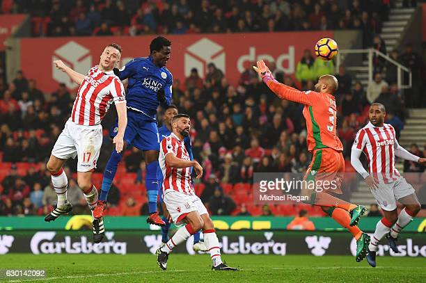 Daniel Amartey of Leicester City scores his sides first goal through a header during the Premier League match between Stoke City and Leicester City...