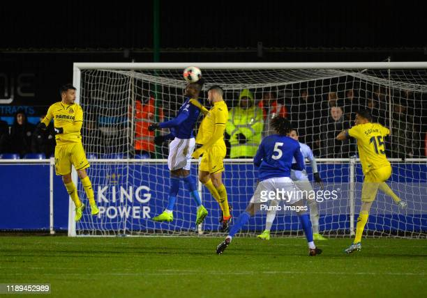 Daniel Amartey of Leicester City with José Castaño Muñoz of Villarreal during the Leicester City U23 v Villarreal B PL International Cup at Holmes...