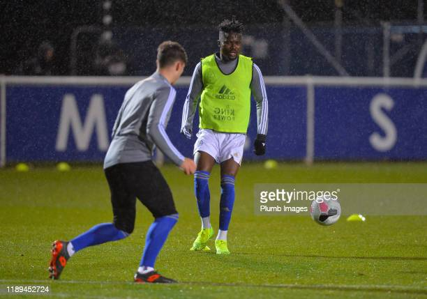 Daniel Amartey warms up before the Leicester City U23 v Villarreal B PL International Cup at Holmes Park on December 18th 2019 in Leicester United...