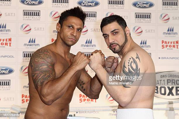 Daniel Aminati and Mehrzad Marashi attend the Offical Weighing And Photocall of 'Das Grosse Sat1 Promiboxen' on March 6 2013 in Dusseldorf Germany