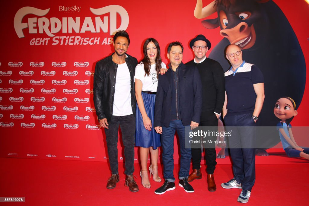 Daniel Aminati, Bettina Zimmermann, Carlos Saldanha, Ben and Simon Schwarz attend the premiere of 'Ferdinand - Geht STIERisch ab!' at Zoo Palast on December 7, 2017 in Berlin, Germany.
