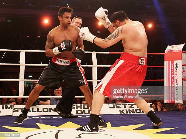 Daniel Aminati fights against Mehrzad Marashi at 'Das Grosse Sat1 Promiboxen' at Castello on March 8 2013 in Dusseldorf Germany