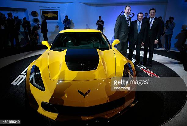 Daniel Ammann incoming president and chief financial officer of General Motors Co North America from left Alan Batey incoming executive vice...