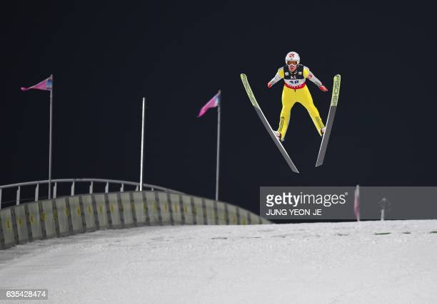 Daniel Andre Tande of Norway competes during the 1st round of the Large Hill Individual event at the FIS Ski Jumping World Cup in Pyeongchang on...