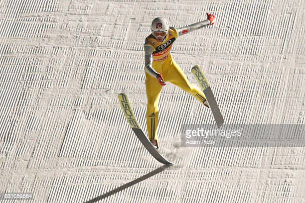 Daniel Andre Tande of Norway competes the final round on Day 2 of the 65th Four Hills Tournament ski jumping event at Paul-Ausserleitner-Schanze on...