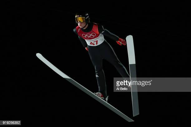 Daniel Andre Tande of Norway makes a jump during the Ski Jumping Men's Large Hill on day eight of the PyeongChang 2018 Winter Olympic Games at...