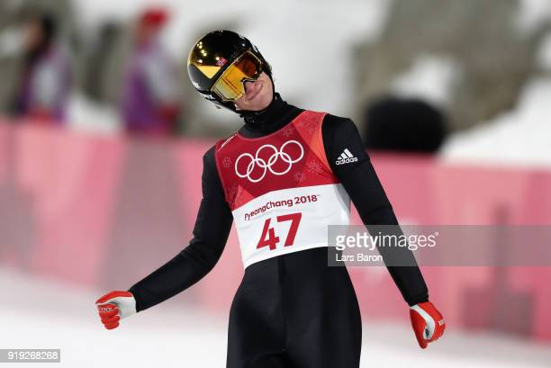 Daniel Andre Tande of Norway reacts after he makes a jump during the Ski Jumping Men's Large Hill on day eight of the PyeongChang 2018 Winter Olympic...