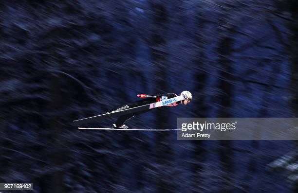 Daniel Andre Tande of Norway soars through the air during his first competition jump of the Ski Flying World Championships on January 19 2018 in...
