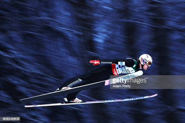 Daniel Andre Tande of Norway soars through the air during his first competition jump of the Flying Hill Team competition of the Ski Flying World...