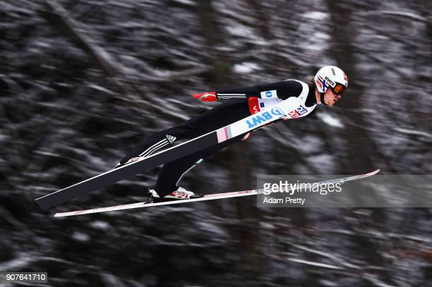 Daniel Andre Tande of Norway soars through the air during his practice jump before the FIS Ski Flying World Championships final on January 20 2018 in...