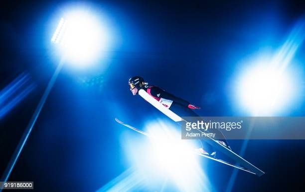 Daniel Andre Tande of Norway soars through the air during the Ski Jumping Men's Large Hill Individual Qualification at Alpensia Ski Jumping Center on...