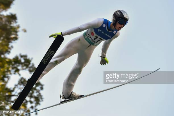 Daniel Andrei Cacina of Kazakhstan competes during the FIS Grand Prix Skijumping Hinzenbach at on February 6, 2021 in Eferding, Austria.