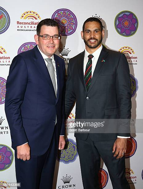Daniel Andrews MP Premier of Victoria and Greg Inglis South Sydney Rabbitohs NRL captain pose as they launch Crown Resorts' second Reconciliation...