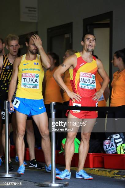 Daniel Andujar of Spain and fellow athletes prepare to enter the stadium for their heat of the Men's 800m during day three of the 24th European...