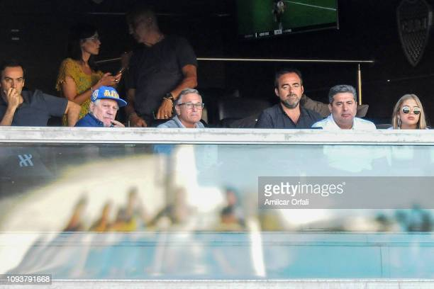 Daniel Angelici President of Boca Juniors looks on during a match between Boca Juniors and Godoy Cruz as part of Superliga 2018/19 at Estadio Alberto...