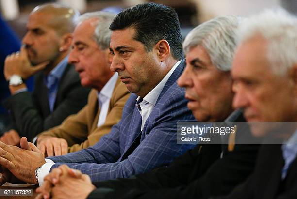 Daniel Angelici President of Boca Juniors looks on during a meeting between Presidents of Argentina Football Association Clubs to sign a statute for...