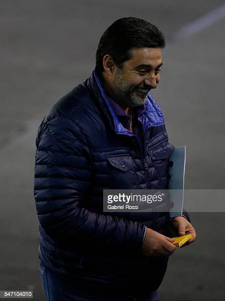 Daniel Angelici President of Boca Juniors smiles during an Argentina Football Association extraordinary assembley to determine the Superliga format...
