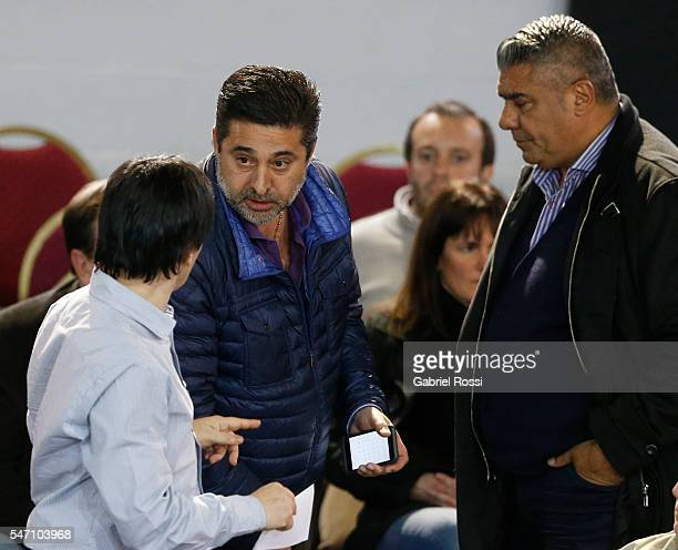 Daniel Angelici President of Boca Juniors speaks to Claudio Tapia President of Barracas Central during an Argentina Football Association...
