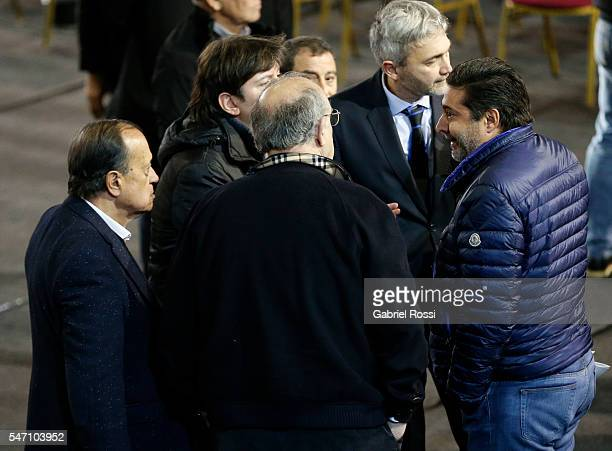 Daniel Angelici President of Boca Juniors speaks to his collegues during an Argentina Football Association extraordinary assembley to determine the...